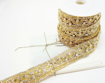Gold Rhinestone Applique Trim, Rhinestone Chain, Rhinestone Applique, Wedding Trim, Clear Crystal Trim, 30mm ( 1 Feet Qty)