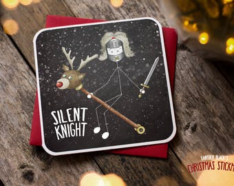 Funny Christmas Card / Christmas Card / Funny Holiday Card / Funny Cards / Silent Knight / Pun Christmas / Christmas Stickman / XS11