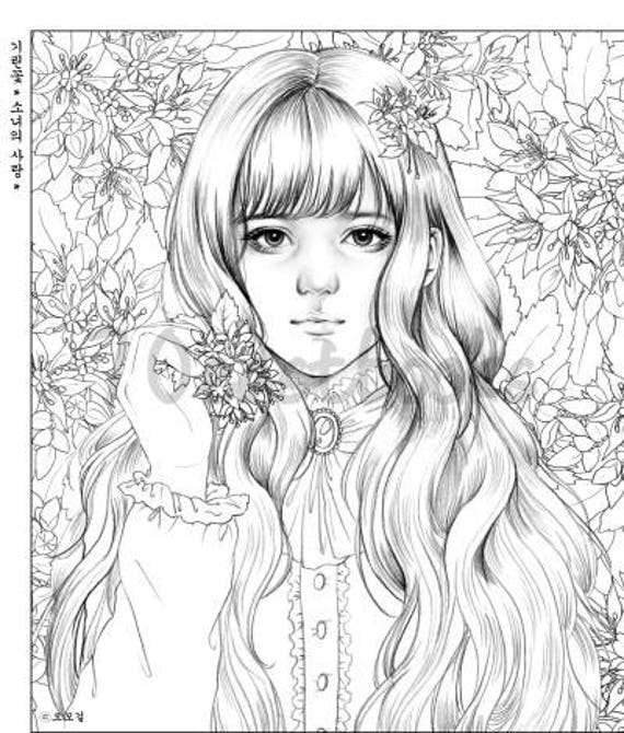 girls with poem by momo girl girls coloring book by momo girl korean coloring book - Girl Coloring Book