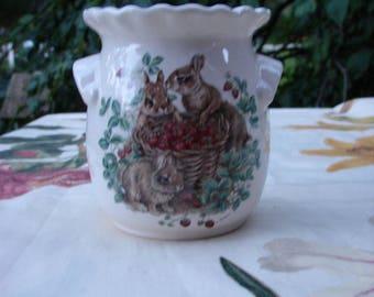 Bunnies in the Strawberry Patch Ceramic Tea Light Tart Burner