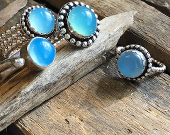 Baby blue chalcedony and silver ring