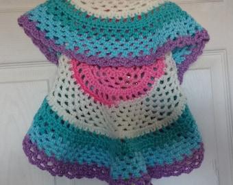 Child's crochet circle vest ready to wear
