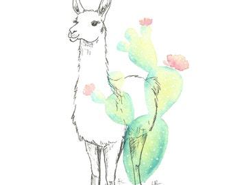 Llama print - Llama nursery decor - cactus watercolor - Ink llama drawing - digital download