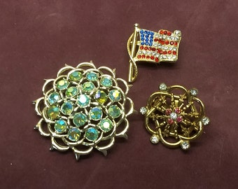 Vintage Brooch Pin Destash Lot of 3 Rhinestone Pins USA Flag, Aqua and Nautical SC and Coro #C158