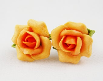 Vintage Ceramic Clay Peach Flower Earrings with Screw Back Non Pierced