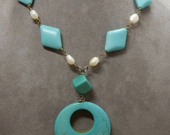 Turquoise, Freshwater Pearl & Sterling Silver Pendant Necklace    OBU22