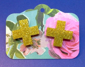 glitter yellow cross studs