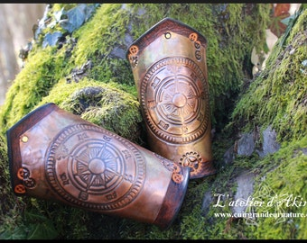 Steampunk bracer, compass and gears, leather and copper