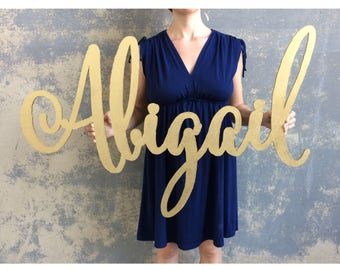 large name sign, calligraphy laser cut nursery sign, Abigail style