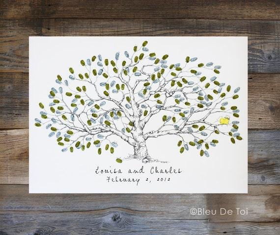 Guest Book Alternative Thumbprint Wedding Tree Fingerprint: Wedding Guest Book Alternative Fingerprint Tree New Size