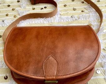 Leather Crossbody Saddle Bag Leather Messenger Bag Moroccan saddle bag Leather Satchel long strap bag Women purse