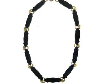 Victorian Revival Onyx 14K Gold Diamond Necklace