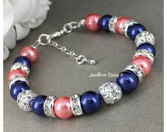 Coral and Navy Bracelet Navy Blue Coral Jewelry Pearl Bracelet Bridesmaid Gift on a Budget Navy Jewelry Coral Bracelet Wedding 2018