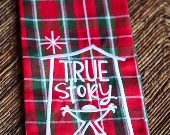 Plaid Christmas Dish Towel, Nativity Tea Towel, Red Holiday Towel, Christmas Gift, Kitchen Decor, Christmas Decoration, Hostess Gift, Green