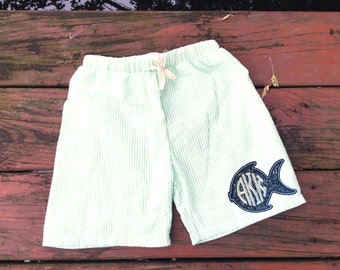 Boys Swim Shorts - Monogrammed Swim Trunks - Monogrammed Swim Shorts - Seersucker Shorts - Fish Monogram - Shorts for Boys - Toddler Boys