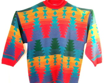 Acrylic Women's Sweater Venezia Size 22/24 with Colorful Geometric Pattern Front and Back
