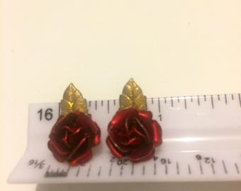 On Sale! Vintage Red Rose with Gold Leaf Clip On Earrings
