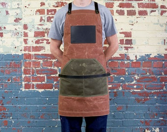 Waxed Canvas and Leather Apron, Waxed Canvas Apron, Work Apron, Cross Straps Apron