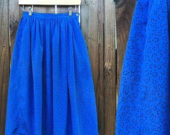 Vintage Flowy Skirt - Midi Skirt - Highwaist Skirt - Size Small Medium - Pleated Skirt - School Girl Skirt - Festival Clothing