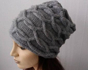 Cable Knit Slouchy Beanie//  Horizontal Cables//  Spring Fashion Accessories Active/Hand knit hat