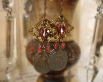 st michael protect us earrings dedicated to first responders . vintage bRass reproduction st michael medals faceted garnet gemstone dangles