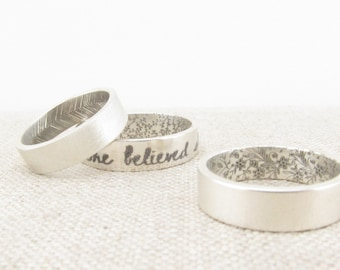 Personalized Ring  - Wedding Band - Inside Out Patterned Ring -  Silver Posey Ring  - Engraved Ring