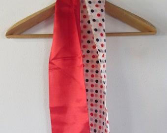 60s Red Polka Dot Mod Tie Scarf // Vintage Neck Scarf
