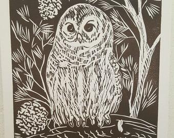 Owl Print Linocut