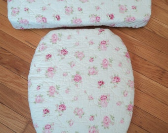 Quilted Pink Roses REVERSIBLE Toilet Seat Cover Set
