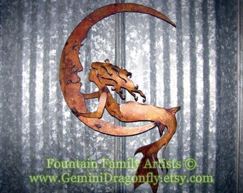 Mermaid on Crescent Moon Rusty Garden Art Recycled Metal
