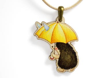 Girls Jewellery Necklace WOODEN ***RAINY HEDGEHOG***