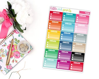 Homework Checklist Planner Stickers for the Erin Condren Life Planner, Checklist Sticker, School Stickers - [P0206]