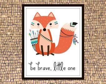 Fox Illustration, Fox Drawing, Tribal Fox, Fox Printable, Fox Print, Fox Art, Fox Tribal, Brave One, Hipster Illustration, Nursery Wall Art
