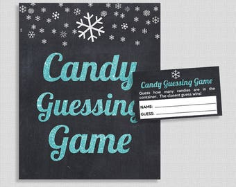 Winter Candy Guessing Game, Blue Glitter Chalkboard Guess How Many Candies, Snowflake, M&M's, Jelly Beans, etc., INSTANT PRINTABLE
