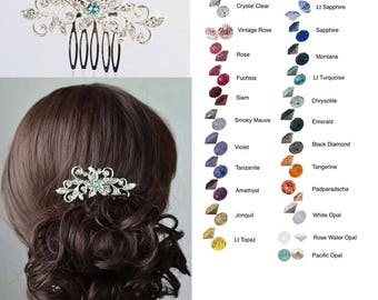 Choose Your Accent Colour -- Vintage Inspired Crystal Rhinestone Starfish Hair Comb, Bridal, Wedding (Sparkle-2748)