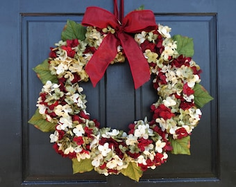 Faux Hydrangea Christmas Wreath with Bow for Festive Front Door Decor; Burgundy Red, Cream (Off-White) and Green; Small - Extra Large Sizes