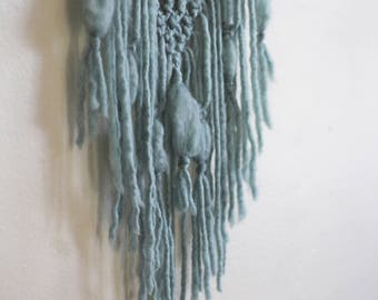 Light Turquoise Triangle Trio Macrame Wall Hanging