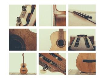 Acoustic Guitar Parts Vintage Color Tone, Set of Nine Photo prints, Music theme, guitar room, Music Decor