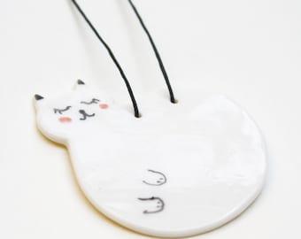 Cat Necklace ~ Ceramic Jewelry ~ Porcelain Pendant ~ Unique Gift for her ~ Handmade Ceramics