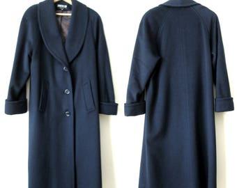 wool overcoat, oversized coat, long maxi coat, navy blue with shawl collar, vintage 80s, womens 8, Jofeld