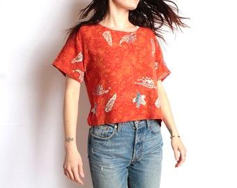 vintage BATIK boxy shirt BAROQUE 90s in living color SLOUCHY oversize floral grunge blouse shirt