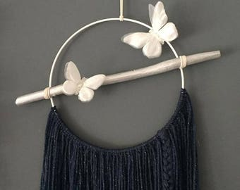 Dream catcher silver and blue and white butterflies