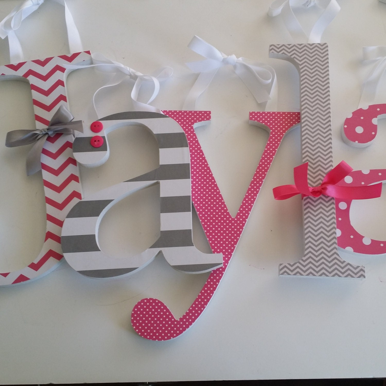 Hot Pink and Grey Custom Wooden Nursery Decor Letters Baby