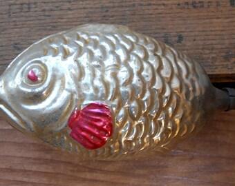 Wondeful Antique German Fish Ornament - Grumpy Face