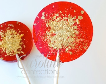 Red and Gold Sparkle Lollipops, Christmas Lollipops, Holiday Gift, Stocking Stuffer, Candy, Sweet Caroline Confections-6/Set