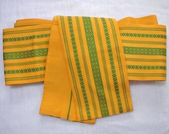 Second hand Hanhaba-obi, Japanese casual obi belt for yukata and casual kimono, Hakata-ori, orange-yellow, silk