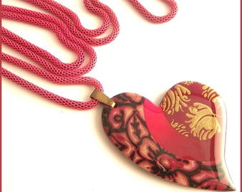 Necklace long necklace black pink gold Burgundy heart polymer clay pendant