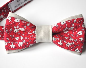 Bow tie man, adjustable, tied in printed cotton and suede LIBERTY Red