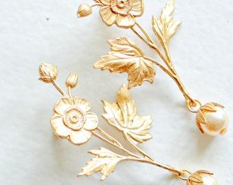 Flower Stud Pearl Earrings, Bridal Flower Earrings, Wedding Jewelry, Flower and Pearl Stud Earrings, Long Gold Earrings, Wedding Jewelry