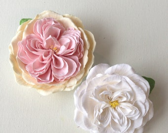 Romantic wedding flowers White flowers Bride Flower hair piece  Hair clip polymer clay flower